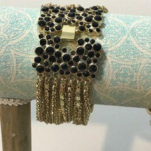 Design with fringed chains gold black bracelet new